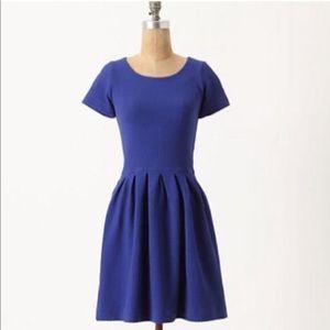 Ganni Basketweave Short-Sleeved Fit & Flare Dress